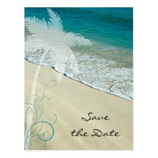 Reserva tropical del boda de playa la fecha tarjeta postal