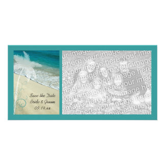 Reserva tropical del boda de playa la fecha tarjetas personales con fotos