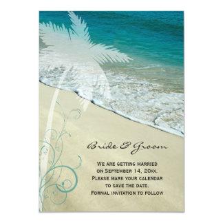 Reserva tropical del boda de playa la invitación