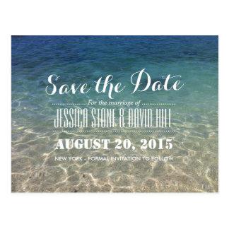 Reserva tropical hermosa del boda de playa la fech tarjeta postal