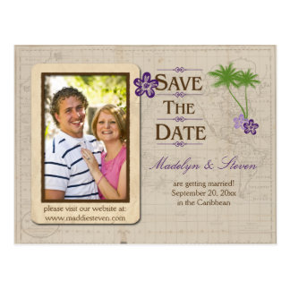 Reserva tropical púrpura de la foto del destino la tarjeta postal