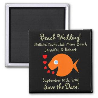 Reserva única el boda de playa de la fecha imán cuadrado
