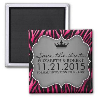 Reserva Untamed del estampado de zebra de las rosa Imán Cuadrado
