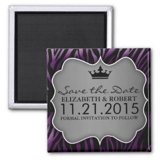 Reserva Untamed púrpura del estampado de zebra del Imán Cuadrado