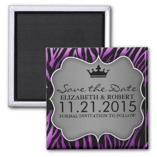 Reserva Untamed púrpura del estampado de zebra la  Imán Cuadrado
