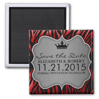 Reserva Untamed roja y negra del estampado de zebr Imán Cuadrado