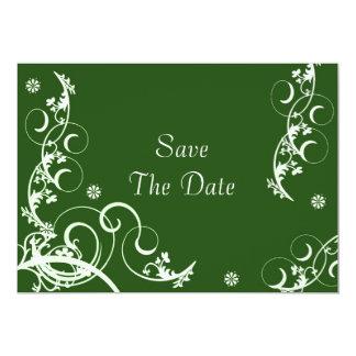 """Reserva verde de Fourish la fecha Invitación 5"""" X 7"""""""
