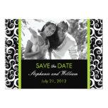 Reserva verde de la foto del remolino la fecha invitación 12,7 x 17,8 cm