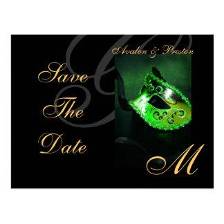Reserva verde de la máscara de la mascarada la pos tarjetas postales
