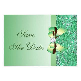 Reserva verde de las lentejuelas, del arco y del invitación 8,9 x 12,7 cm