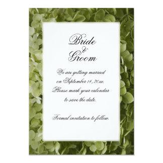"""Reserva verde del boda de la flor del Hydrangea la Invitación 5"""" X 7"""""""