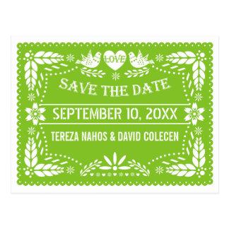 Reserva verde del boda de los lovebirds del picado postal