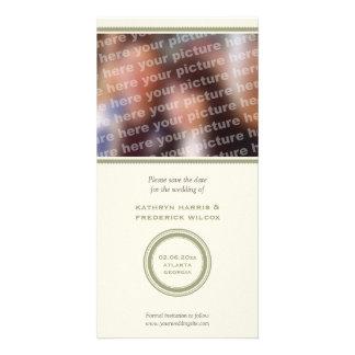 Reserva verde del boda del círculo la invitación d tarjetas personales con fotos