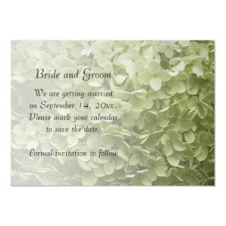 """Reserva verde del boda del Hydrangea de Annabelle Invitación 5"""" X 7"""""""