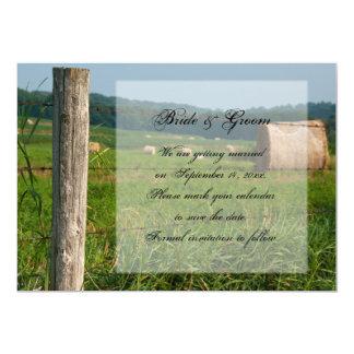 """Reserva verde del boda del país de los pastos de invitación 5"""" x 7"""""""