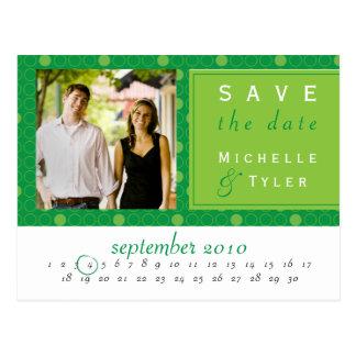 Reserva verde del círculo la tarjeta de fecha tarjetas postales