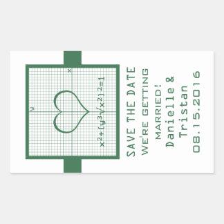 Reserva verde del gráfico de la matemáticas del pegatina rectangular