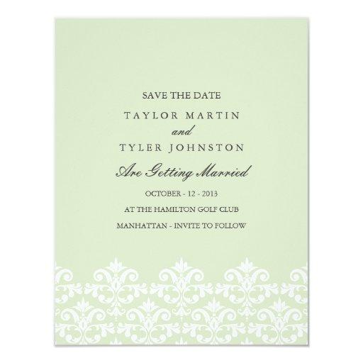 Reserva verde elegante del boda del damasco la invitación 10,8 x 13,9 cm