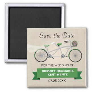 Reserva verde en tándem de la bicicleta la fecha imán cuadrado