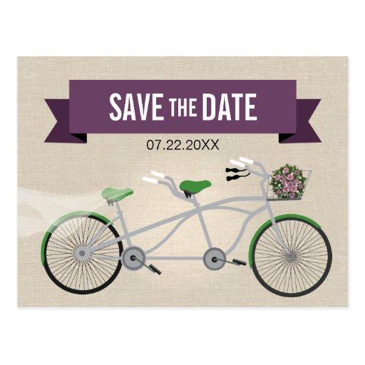 Reserva verde en tándem del boda de la bicicleta postales