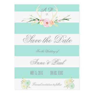 Reserva verde floral de las rayas el   del blanco tarjeta postal