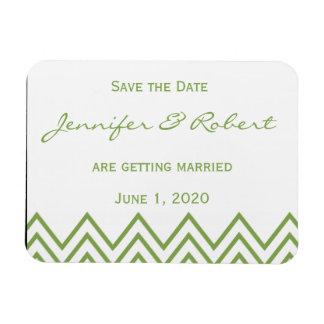 Reserva verde moderna del boda de Chevron la fecha Imán Rectangular
