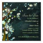 Reserva verde oscuro del boda del árbol las invitación 13,3 cm x 13,3cm