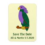 Reserva verde púrpura del loro la fecha imán