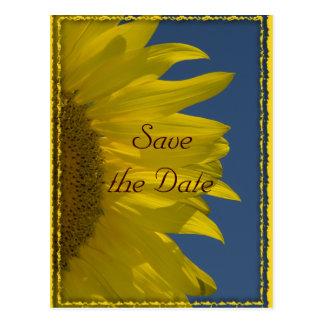 Reserva vertical del boda del girasol la postal de
