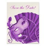 Reserva violeta de la mascarada la fecha invitación 10,8 x 13,9 cm