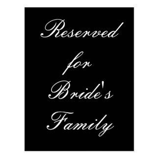 Reservado para la familia de la novia tarjetas postales