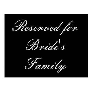 Reservado para la familia de la novia tarjeta postal