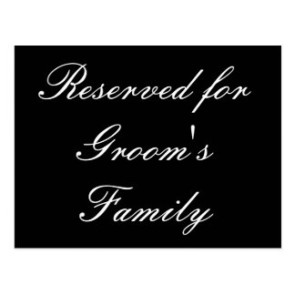 Reservado para la familia del novio tarjeta postal