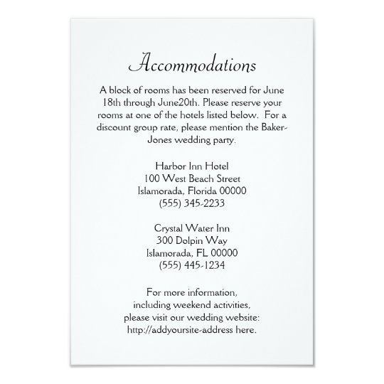 Reservations And Accommodations Wedding Cards