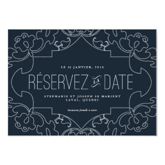 Reserve the date with lace //Navy blue Card