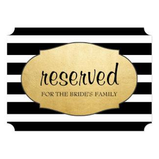 Reserved Black Stripes Faux Gold Foil Wedding Sign Card
