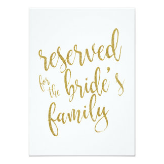 Reserved for Bride's Family  Affordable Sign Card