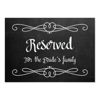 """Reserved for Bride's Family"" Wedding Sign Card"