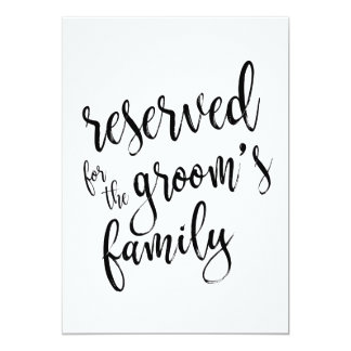 Reserved for Groom's Family  Affordable Sign Card