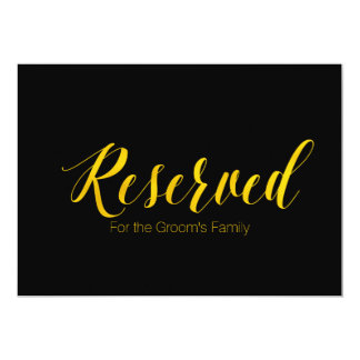 """Reserved for Groom's Family"" Chic Wedding Sign Card"