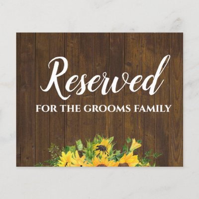 Reserved for Grooms Family Rustic Wedding Sign