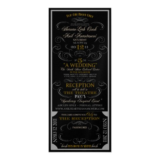 Reserved for Shanan and Anil 4x9.25 Paper Invitation Card