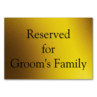 Reserved Graphic Gold Background Table Card