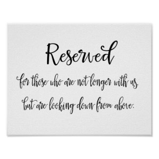 Reserved Memorial Sign for Wedding