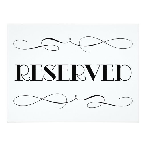 Reserved Seating | Wedding Sign 6.5x8.75 Paper Invitation ...