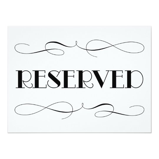 Reserved seating wedding sign card for Reserved seating signs template