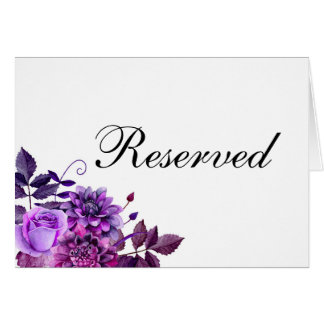Reserved sign. Purple wedding. Floral table sign