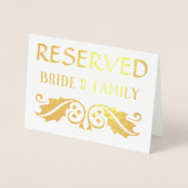 Reserved Sign with Holly Leaves Foil Card