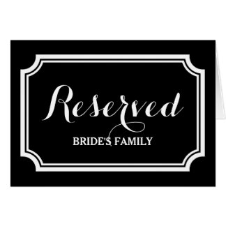 Reserved table or seating sign cards for wedding