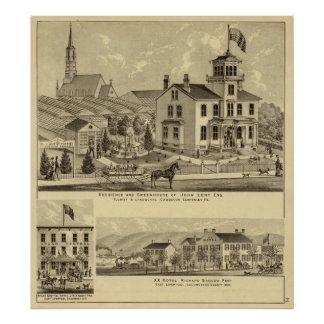 Residence and Greenhouse of John Lent Sewickley Poster